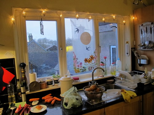 fairy lights | Inspiraculum:Since we now have two tables in the kitchen, we use it a a place to eat,  work, hang out, make art and food.,Lighting