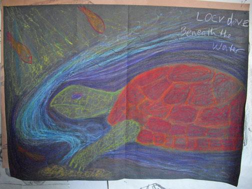 Locv, A1, wax pastels