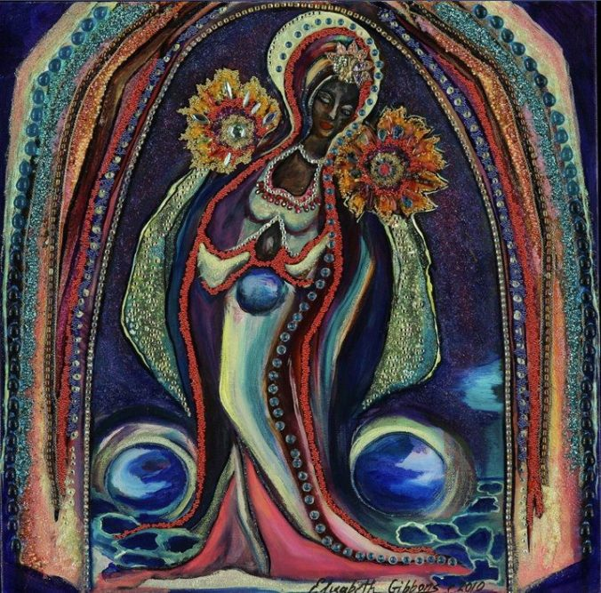 """""""Our Lady of the Starlit Night"""" by Elizabeth Gibbons8"""" X 18"""", Mixed Media"""