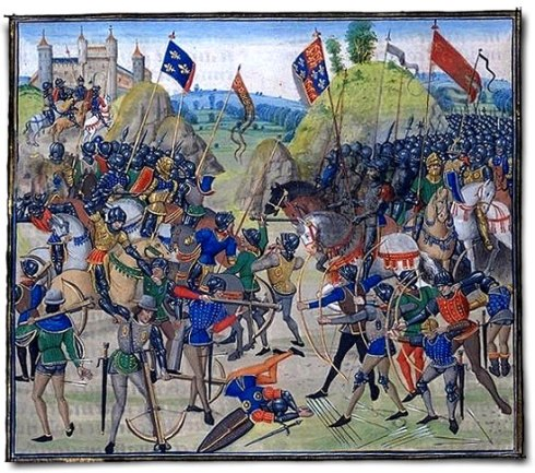 ''At Crécy, the carefully deployed and well disciplined army of Edward III humbled King Phillip VI of France and left 1,500 of the chivalry of France dead on the field in this famous battle during Edward's chevauchee of 1346 AD during the 100 Years War.''