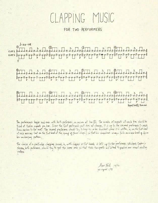 Reich's score for 'Clapping Music'