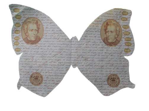 """Andrew Jackson butterfly 8"""" x 10"""" , printed on lokta paper."""