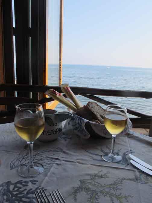 Local vino bianco before lunch at Rstorante La Conchiglia, Procida