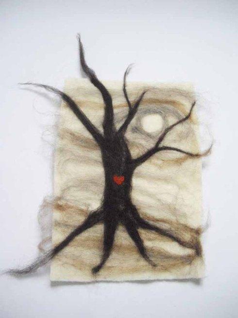October Tree, wool, 21 x 30 cm