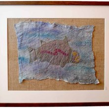 Machine embroidered onto organza, bleached & hand painted mulberry bark, linen.